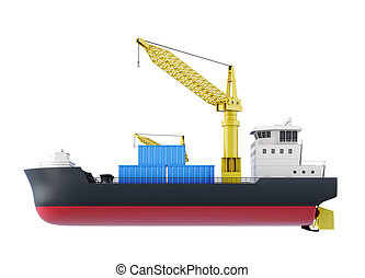 Cargo ship isolated on white background. 3d rendering