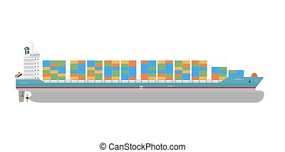 Cargo ship isolated on white background