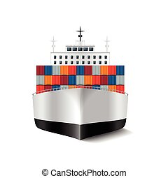 Cargo ship isolated on white vector