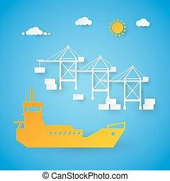 Cargo Ship Loading in Shipping Port. Harbor Dock. Cut Paper Vector Illustration