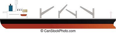 cargo ship of dry bulk carrier with four cranes