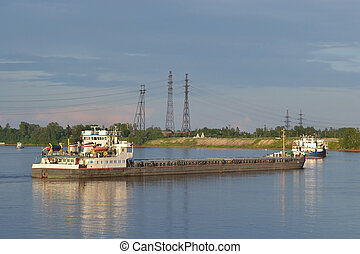 Cargo ship on the Neva river, outskirts of St. Petersburg, Russia.