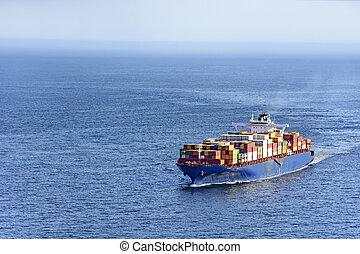 Cargo ship over ocean