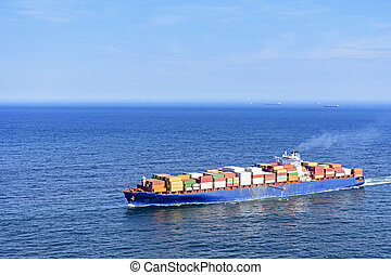 Cargo ship over the sea