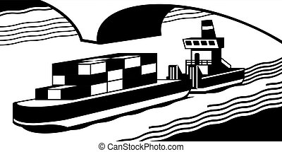 Cargo ship pass river - vector illustration
