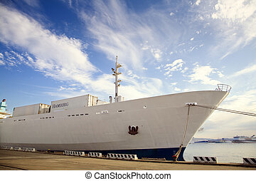 cargo ship - industry and commerce: cargo ship anchored in a...