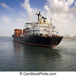 cargo ship leaving the harbor