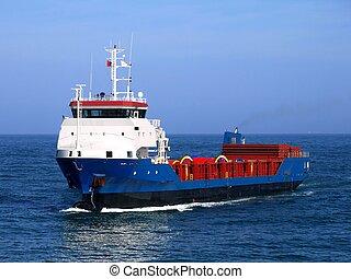 Cargo Vessel underway at sea.
