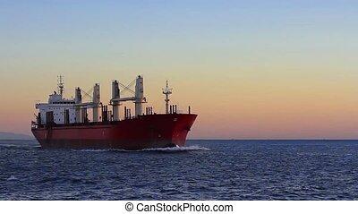 Cargo ship sailing from open sea