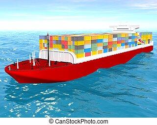 Cargo ship sails across the Ocean.