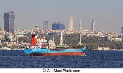 Cargo ship sails past city skyline