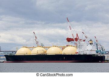 cargo ship - LNG cargo ship docked in the port