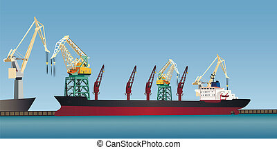 Cargo ship - The cargo ship at pier in the harbor