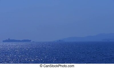 cargo ship Traveling over sparkling