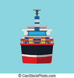Cargo ship vector flat icon container transportation. Delivery boat front view industry vessel export. Ocean tanker global worldwide
