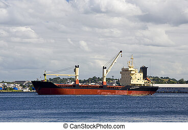 Cargo ship waiting in the port