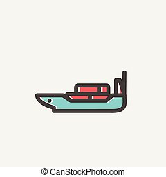 Cargo ship with container thin line icon