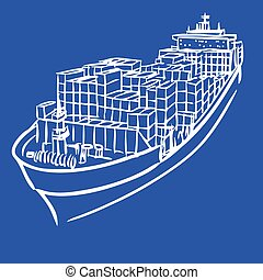 Cargo ship with containers icon hand drawn