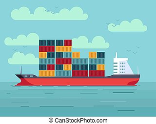 Cargo ship with containers in ocean or sea vector illustration