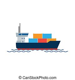 Cargo ship with containers in the ocean. Shipping freight transportation