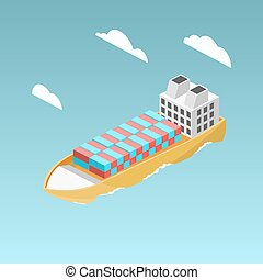 Cargo ship with containers isometric vector