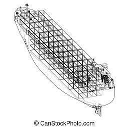 Cargo ship with containers. Vector