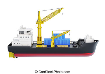 Cargo ship with crane isolated on white background. 3d rendering
