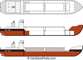 cargo ship with hold details - cargo ship of dry bulk ...