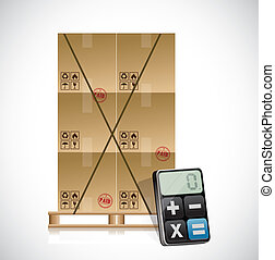 cargo shipping and calculator illustration