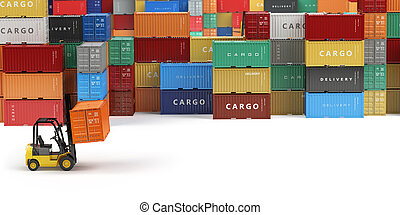 Cargo shipping containers in storage area with forklifts...