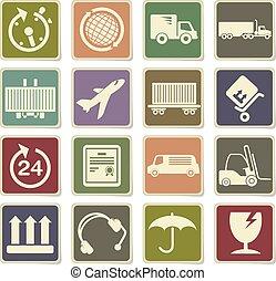 Cargo shipping icons set