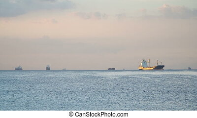 Cargo ships anchored in the sea. Philippines, Manila.