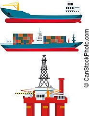 cargo ships and oil platform and isolated on white...