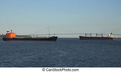 Cargo Ships And Suspension Bridge