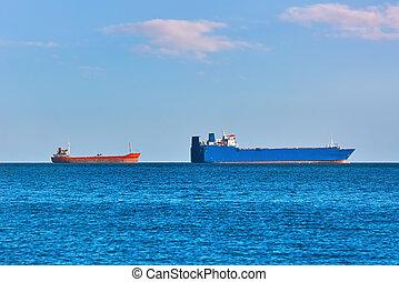 Cargo Ships at Anchorage in Black Sea