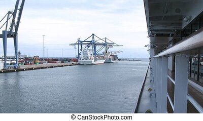 Cargo ships being loaded with containers, time lapse - Cargo...
