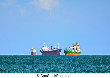 Cargo Ships in Black Sea - Cargo Ships Stacking Up In Black...
