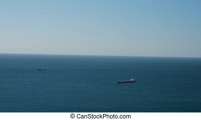 cargo ships in open sea