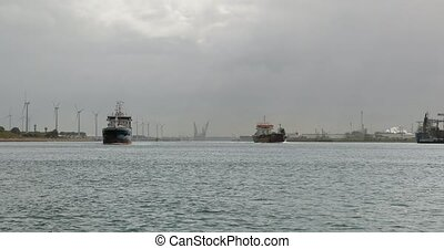 Cargo ships in the port of Rotterdam - Ship in the port of ...
