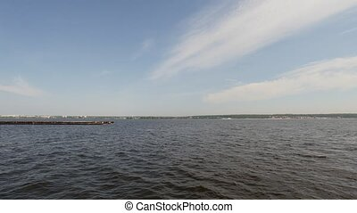Cargo ships on volga river - Big cargo ships on volga river,...