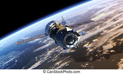 Cargo Spacecraft Deploy Solar Panels. 3D Animation.