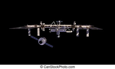 Cargo Spaceship Is Preparing To Dock With International Space Station. With Alpha Channel. 3D Animation.