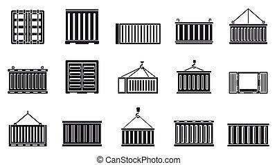 cargo, style, ensemble, simple, récipient, icônes