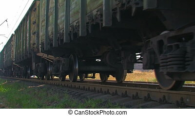 Cargo train in motion.