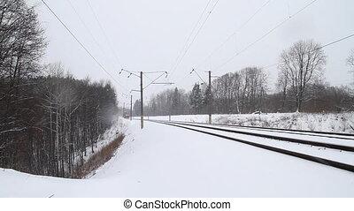 cargo train in winter