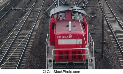 Locomotive and cargo train - view from above