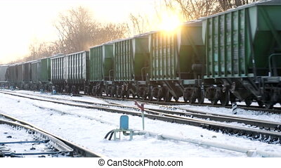 cargo train move on winter rail road