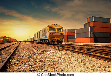 Cargo train platform at sunset with