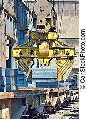 Cargo train platform with steel plate