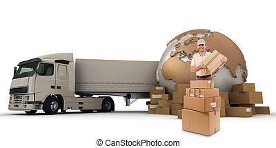 Cargo transport - A messenger with a world map, packages and...